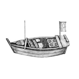 手描きの寿司ボート