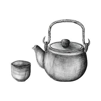 手描きの緑茶セット