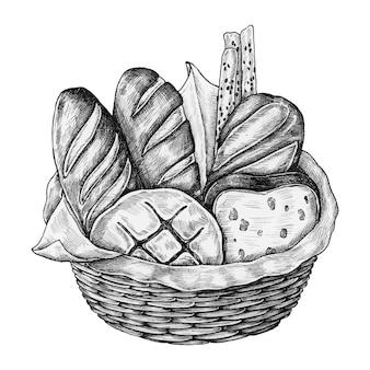 手で描かれたパンのバスケット