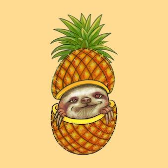Симпатичная лень, выглядывающая через ананасовый рисунок
