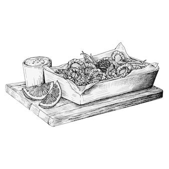 Рисованные кальмарированные жареные кальмары