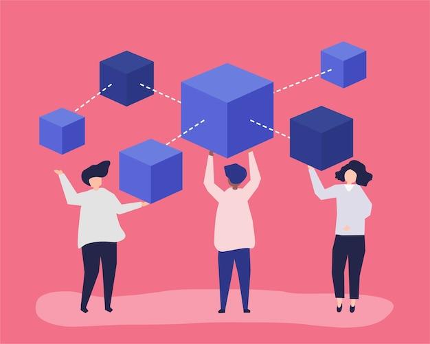 ブロックチェーンネットワークを持つ人々のキャラクター
