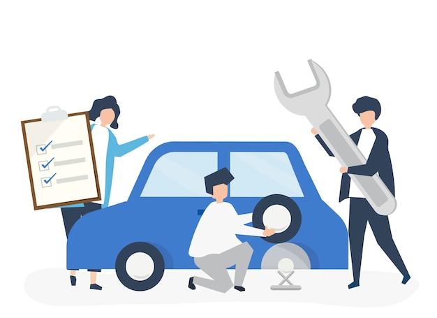 自動車のタイヤを交換する人々