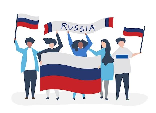 ロシアの国旗を掲げる人々