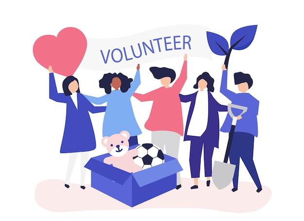 ボランティアとお金を寄付している人々