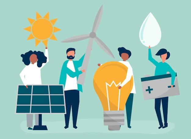 Персонажи людей, знающих зеленую энергию