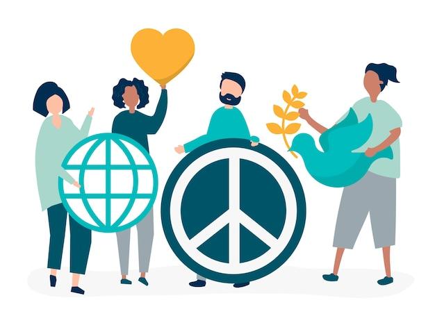 Персонажи людей, держащих значок иконы мира