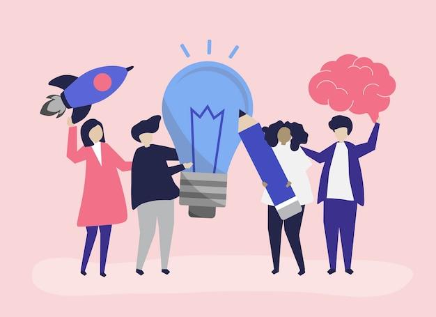 創造的なアイデアのアイコンを持つ人々のキャラクターイラスト