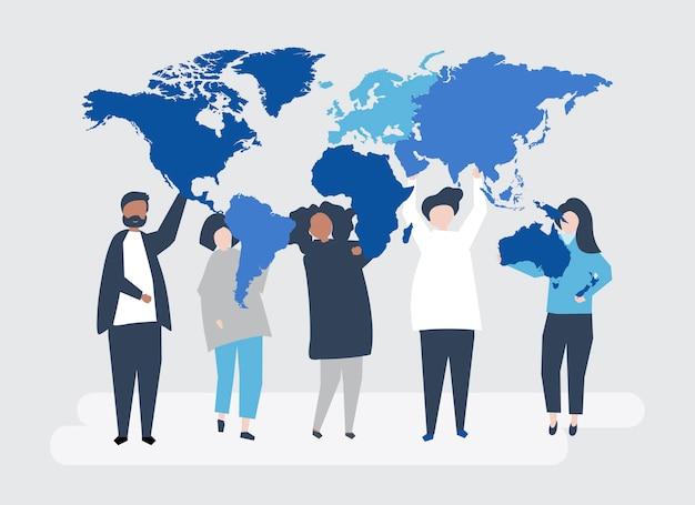 多様な人々と世界のキャラクターイラストレーション