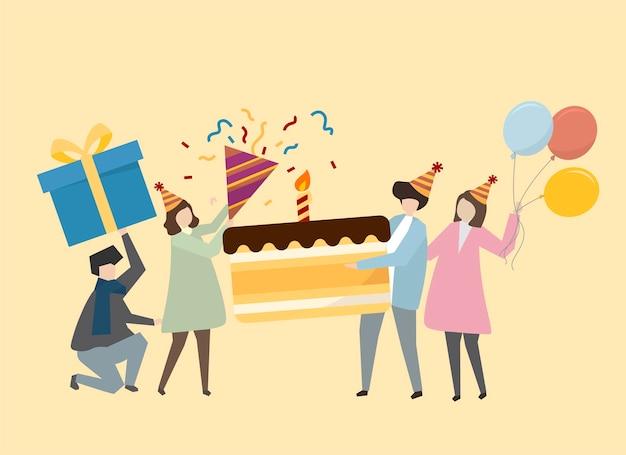 誕生日のイラストを祝う幸せな人々