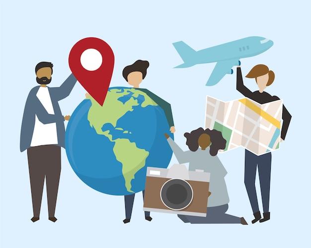 旅行アイコンイラストを持つ人々のグループ