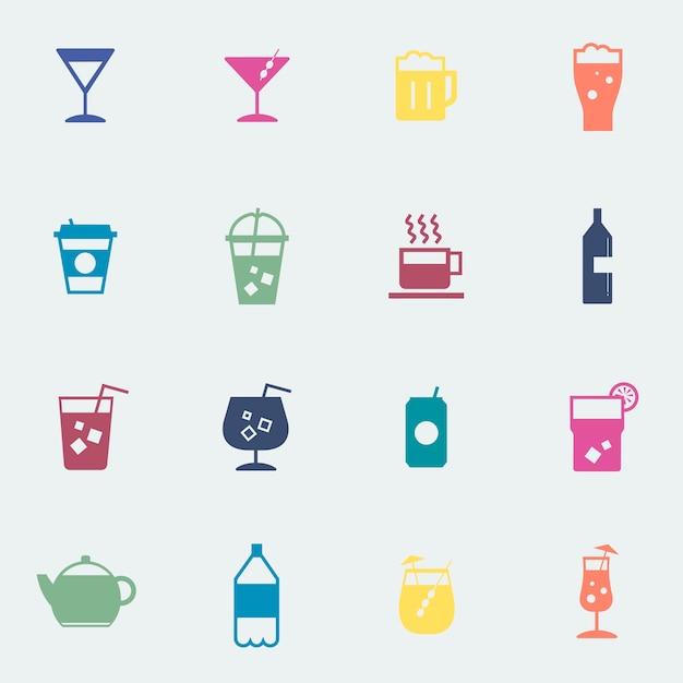 飲み物、アイコン、コレクション、イラスト