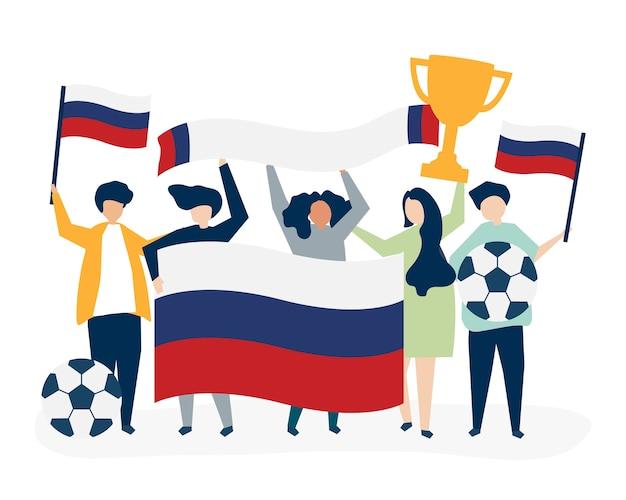 サッカー選手権を持つ人々
