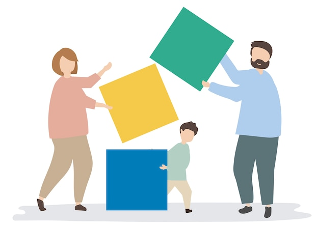 カラフルなブロックを持つ家族のイラスト