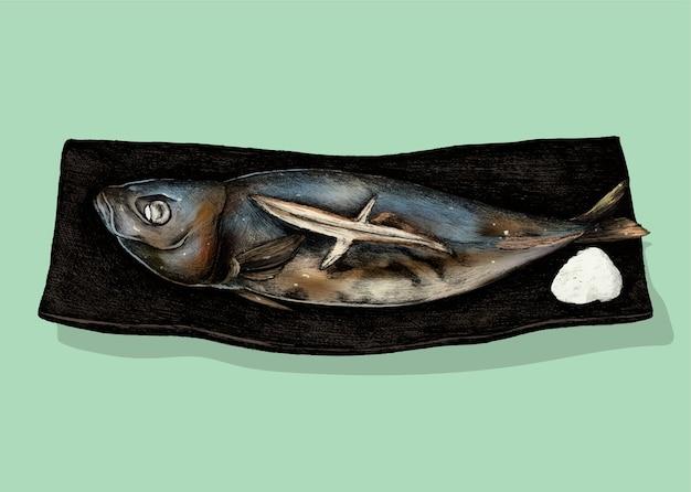 Иллюстрация японской рыбы блюдо