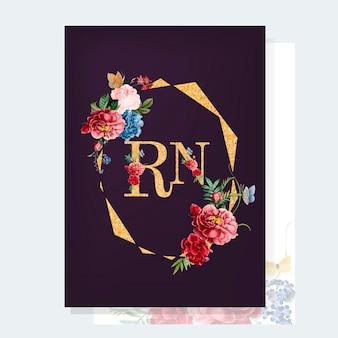 花の招待状のモックアップイラスト