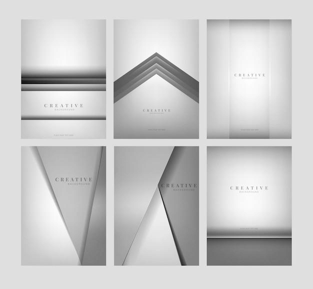 明るい灰色の抽象的な創造的な背景のデザインのセット
