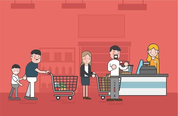 イラスト、スーパーマーケット、ベクトル