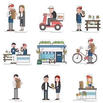 Иллюстрация набор вектор супермаркета