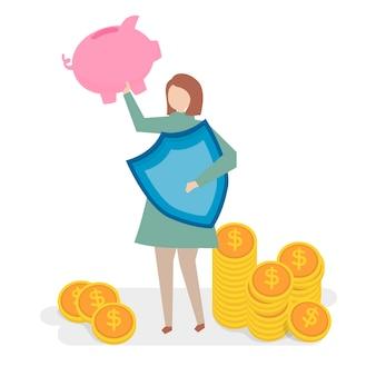 金融保険の概念のイラスト