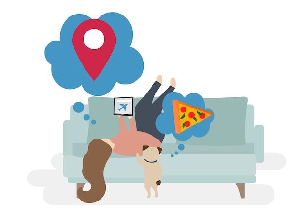 Иллюстрация символов с концепцией путешествия