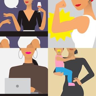 女性のライフスタイルのキャラクターイラスト