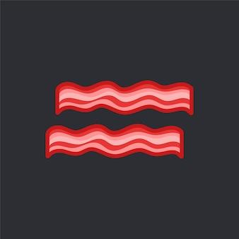 Два вектора среза бекона на черном фоне