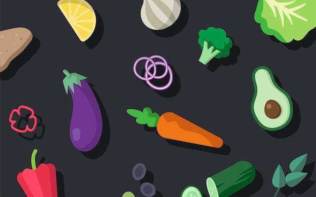 様々な新鮮な有機野菜のベクトルパック