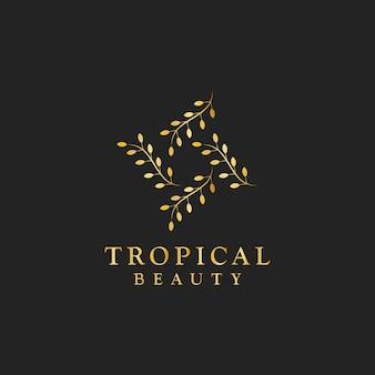 熱帯の美しさのデザインロゴベクトル