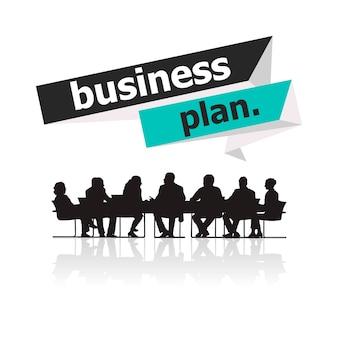 会議でのビジネスマンのイラスト