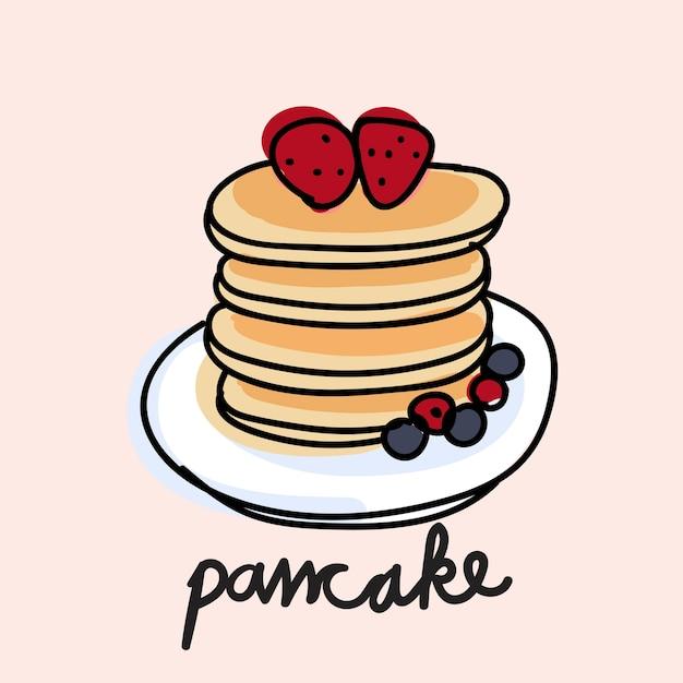 パンケーキのイラストの描画スタイル