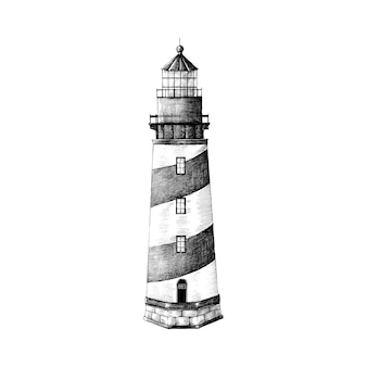 手を引く灯台は、白い背景に