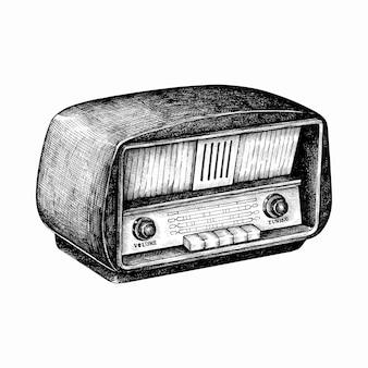 背景に描かれた手描きのレトロなラジオ