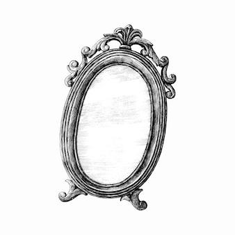 白い背景に描かれた手描きの鏡