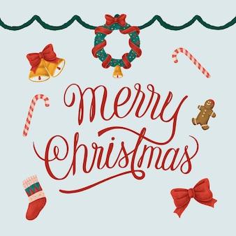 手描きのクリスマスイラストのセット