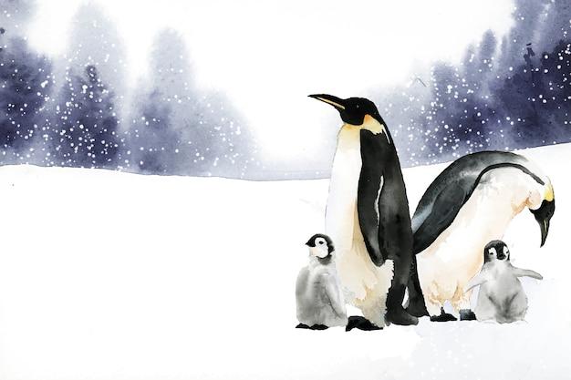 冬の不思議の国の水彩画のペンギン