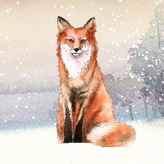 Рисованная лиса в стиле акварели снега