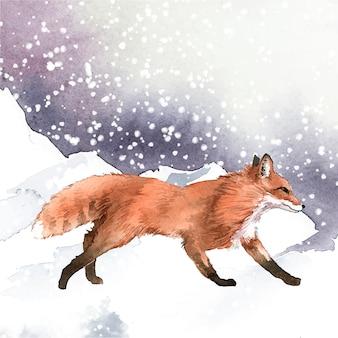雪の水彩スタイルの手描きのキツネ