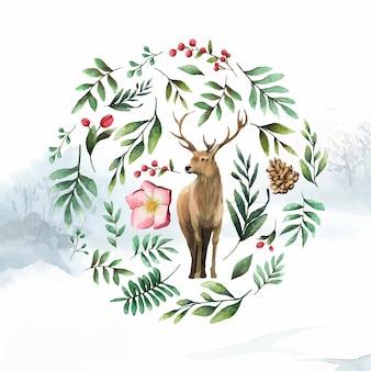 冬の花の水彩ベクトルに囲まれた鹿