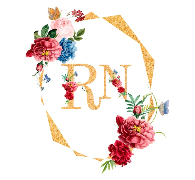 花のフレームカードのデザインのイラスト