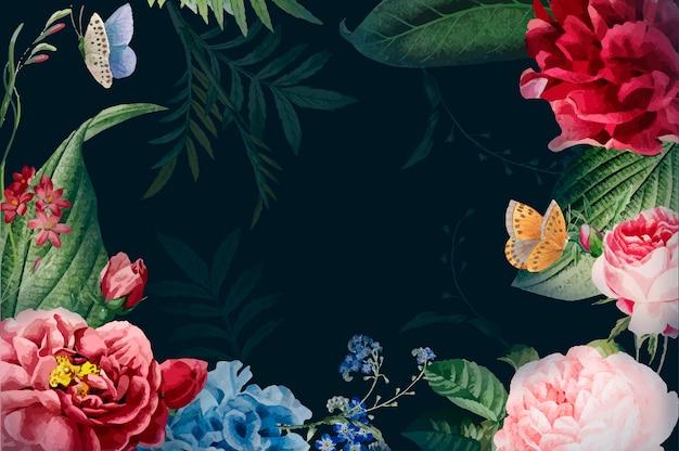 常に花のフレームのイラストを咲かせる