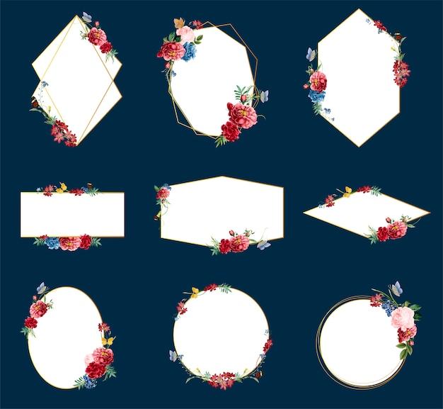ロマンチックな花柄のバッジデザインイラスト