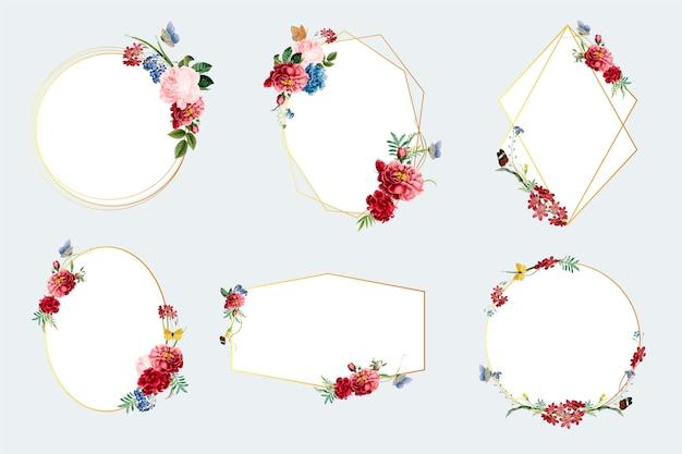 Набор цветочных рамных иллюстраций