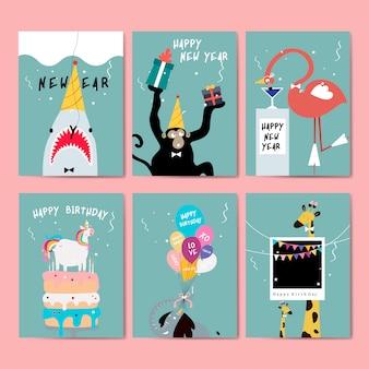 グリーティングカードのベクトルのコレクション