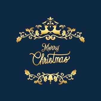 メリークリスマスバッジデザインベクトル