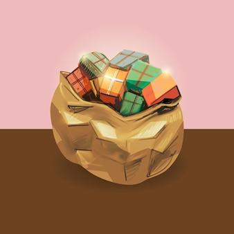 Рисованные рождественские подарочные коробки в желтой сумке санта-клауса