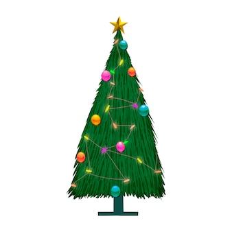 Рисованная украшенная елка