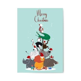 メリークリスマスのポストカードデザインベクトル