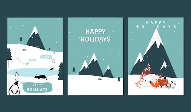 冬のテーマグリーティングカードベクトルのセット