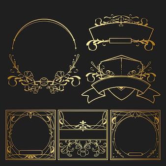 ヴィンテージゴールデンアールヌーボーの要素ベクトルのセット